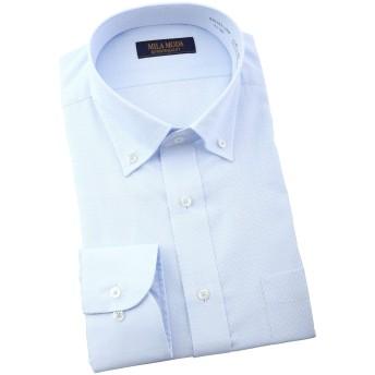 【襟・裄丈で選べる36サイズの品揃え】MILA MODA 形態安定加工 長袖 ワイシャツ ボタンダウン 織り柄 薄ブルー GAD433-250 S(37)-80