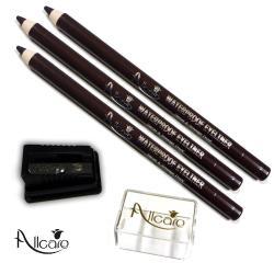 AllCare歐凱 超強防水眼線筆(咖啡)*3+專用附蓋削筆器 8mm