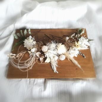 ドライフラワーとプリザーブドフラワーの髪飾り ホワイト&ゴールド 結婚式 卒業式 前撮り 着物にもドレスにも♪