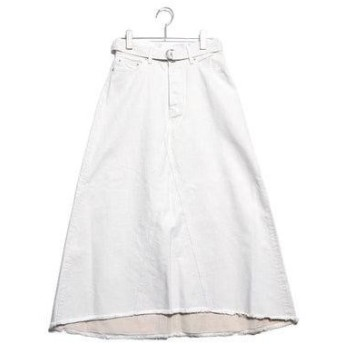 ミラオーウェン Mila Owen リメイク風Aラインデニムスカート (ホワイト)