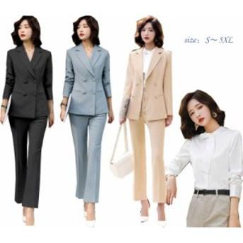 スーツ レディース パンツスーツセット フォーマル衣装  リクルート 通勤 OL オフィス衣装 スリム ダブルボタンスーツ二点送料無料