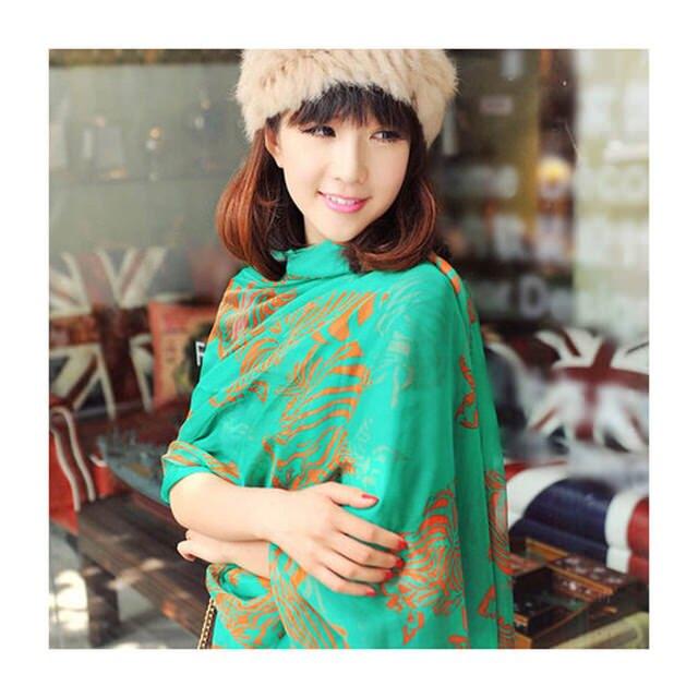 【南秀絲語】柔絲雪紡圍巾 斑馬批肩 絲巾(綠色626DL)【威奇包仔通】
