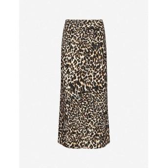 トップショップ TOPSHOP レディース ひざ丈スカート スカート Leopard-print high-waist satin midi skirt True Leopard