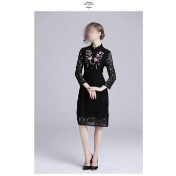 スリムラペル刺繍ミディスカートスリムレースクロップドスリーブドレス (Color : Black, Size : S)