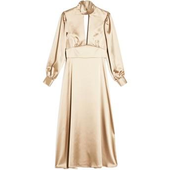 《セール開催中》TOPSHOP レディース ロングワンピース&ドレス ベージュ 6 ポリエステル 96% / ポリウレタン 4% GOLD SATIN MAXI DRESS