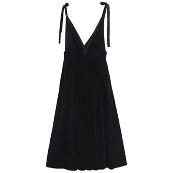 Vネックレースデザインベルベットストラップドレス女性黒レトロな垂直ミディスカートヘップバーンスタイルスカート