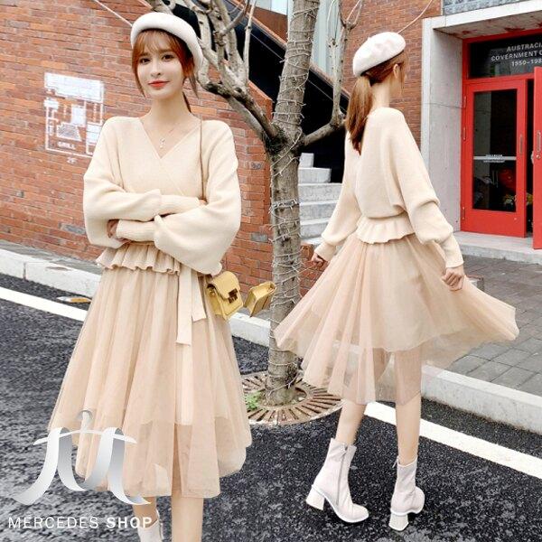 《新品限時5折》中大尺碼針織毛衣網紗裙顯瘦長袖洋裝兩件套(M-4XL,2色) - 梅西蒂絲(現貨+預購)