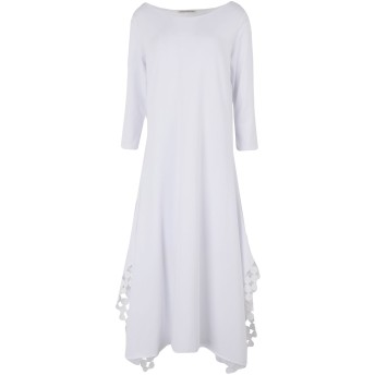 《セール開催中》STEFANO MORTARI レディース 7分丈ワンピース・ドレス ホワイト 42 コットン 94% / ポリウレタン 6%