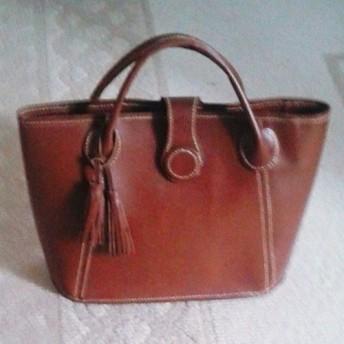 手縫、牛革(色付き)バケツ型バッグ 送料無料