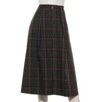 70%OFF archives (アルシーヴ) 前ボタンチェックAラインスカート ネイビー