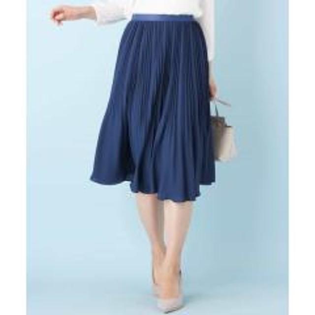 【洗える】リバーシブル サテンプリーツスカート【お取り寄せ商品】
