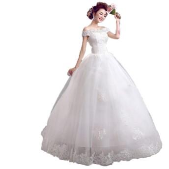 花嫁のウェディングドレス 女性オフショルダーアップリケフローラルレースの夜会服の花嫁のウェディングドレスレースアップバックチュールの花嫁のドレス レディース結婚式ドレス (色 : White, Size : XXL)