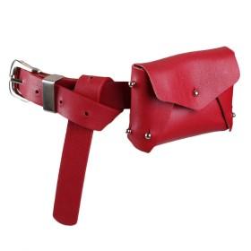 レッグバッグ 小さな女性のウエストバッグベルトバッグシンプルなPUレザーファニーパックウエストポーチ付き取り外し可能なベルトミニ財布財布旅行携帯電話バッグ多目的ワイルド 男女兼用 (Color : Red)