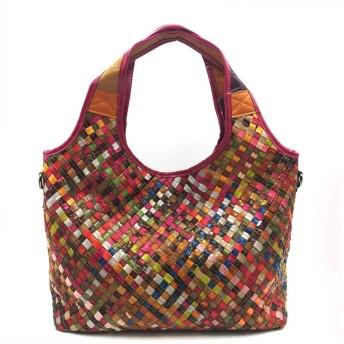 ハンドバッグ、手描きのカジュアルワイルドソフトショルダーバッグ、ヴィンテージ色のステッチシープスキントートバッグ、スクエア幾何学パターン、38センチメートル 30センチメートル 13センチメートル レギンスバッグ