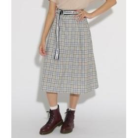 【PINK-latte:スカート】ベルト付 ミディ スカート