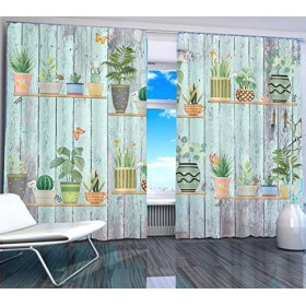 カーテンは部屋のベッドルーム近代的なウィンドウの暗幕印刷リビング2019自宅の窓木製ボードの盆栽をカスタマイズ印刷