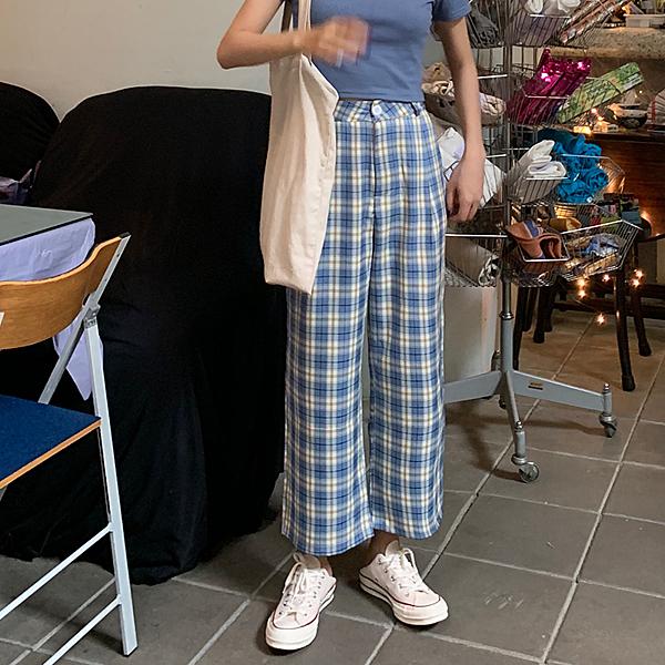 出清288 韓國風寬鬆寬口褲直筒薄款格紋單品長褲