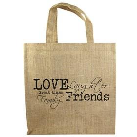 6ボトルジュートトートバッグ–Love & Friends