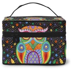 化粧ポーチ いつもカラフルなフクロウ 化粧品バッグ 防水 多機能 大容量 持ち運び便利 旅行する