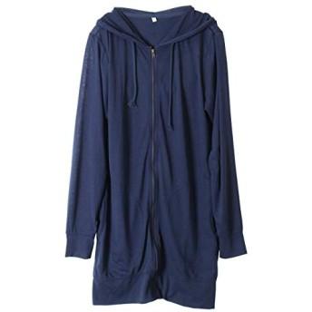 パーカー レディース UVカット 薄手 ジップアップ ロング丈 長袖 大きいサイズ