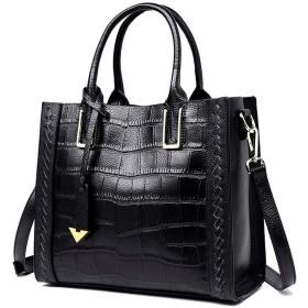 レディースハンドバッグ 女性革トップハンドルハンドバッグショルダークロスボディバッグ取り外し可能な調節可能なストラップ複数の色 通勤 鞄女性用 (Color : Black, Size : Free Size)