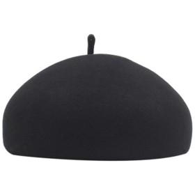 スタイリッシュなカジュアルな女性ベレー帽 野生の女性のかぼちゃのベレー帽のステレオタイプの韓国語版暖かい画家の帽子ウールの帽子 (色 : ブラック)