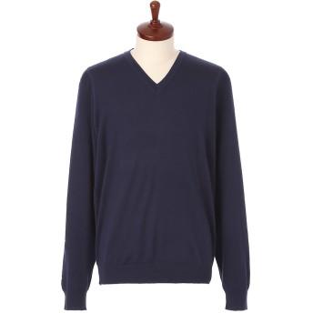 LeCENT レセント Vネックセーター M→L ネイビー Lサイズ メンズ