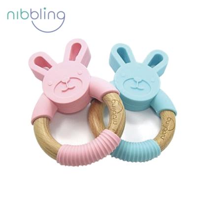 【Nibbling】矽膠可咬動物造型櫸木手握環森林好朋友固齒器-兔兔