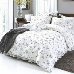 Indian 100%純天絲單人三件式鋪棉床包兩用被組-木槿花開