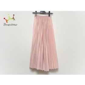 バレンチノ ロングスカート サイズXS レディース 美品 ピンク ドット柄/プリーツ/パンチング加工 新着 20200115