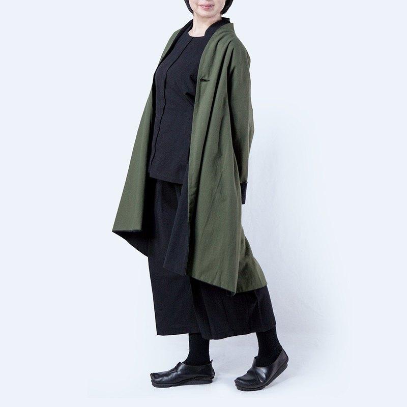 雙面銀杏領長版罩衫- 大衣外套 兩面穿 /墨綠色