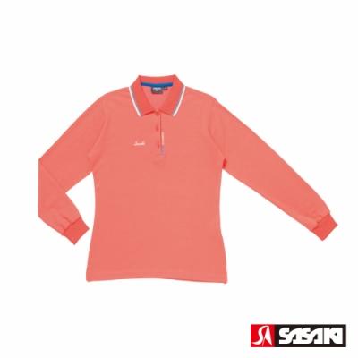 SASAKI 棉質吸濕排汗功能運動休閒長衫-女-珊瑚紅/亮藍