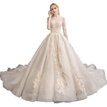 ウェディングドレス 女性メッシュ長袖フローラルレースアップリケロングチャペルの列車の花嫁衣装のウェディングドレス ブライダルドレスウェディングドレス (色 : Champagne, Size : L)