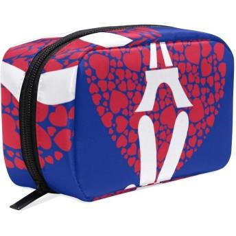 NIKIVIVI 化粧ポーチ小さめ かわいい コンパクト、祈るパリホープピースホープフルエッフェル、メイクポーチ 小さい 軽い 機能的 シンプル 高品質 出張 旅行 化粧バッグ