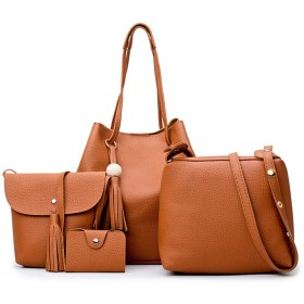 レディース トートバッグ 女性ファッションPUレザーハンドバッグ+ショルダーバッグ+財布+カードホルダー4個セットトートバッグ 結婚式 入会式 (Color : Khaki)