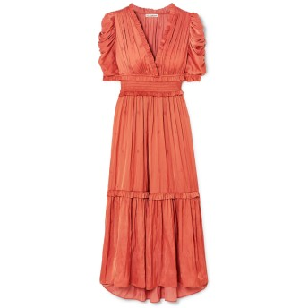 《セール開催中》ULLA JOHNSON レディース 7分丈ワンピース・ドレス 赤茶色 4 ポリエステル 100%
