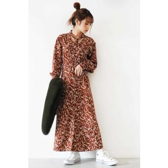 ◆ツートン花柄ボータイワンピース