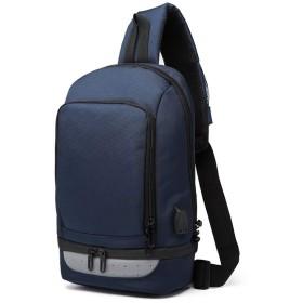 防水メンズチェストバッグUSBの耐摩耗オックスフォード布対角線バッグカジュアルスポーツショルダーバッグ ビジネスバッグ (色 : Dark Blue, サイズ : L)