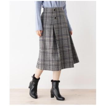 ウール混BOXタック釦スカート