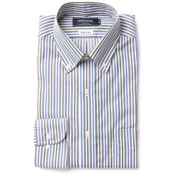 NEWYORKER 【EASY CARE】オルタネイトストライプ / 長袖ショートボタンダウンシャツ ドレスシャツ,ブルー(70)
