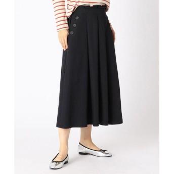 COMME CA ISM/コムサイズム タック入りフレアスカート ネイビー XL