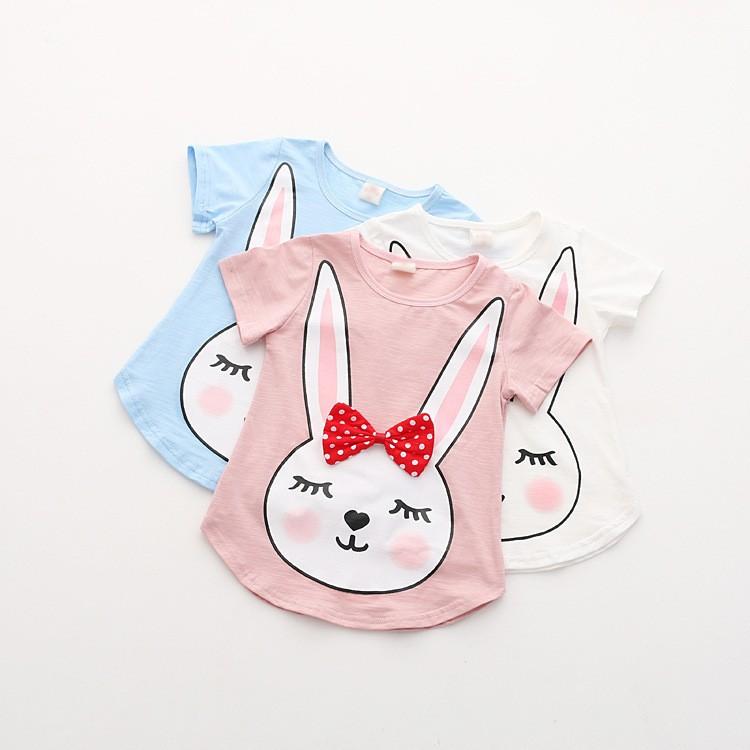【蜜雅兒童坊】童裝-女童簡約純棉兔子印花T恤 短袖上衣