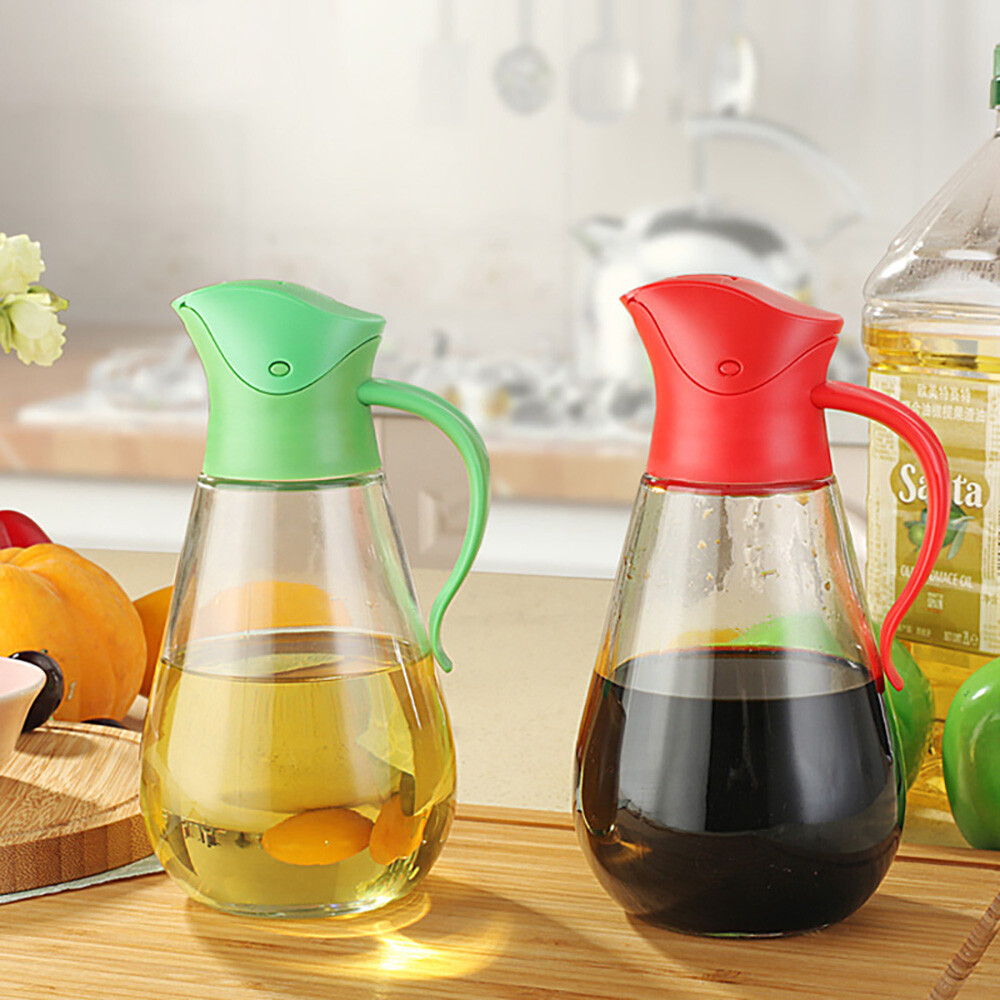 自動開蓋玻璃防漏油瓶550ml-顏色隨機