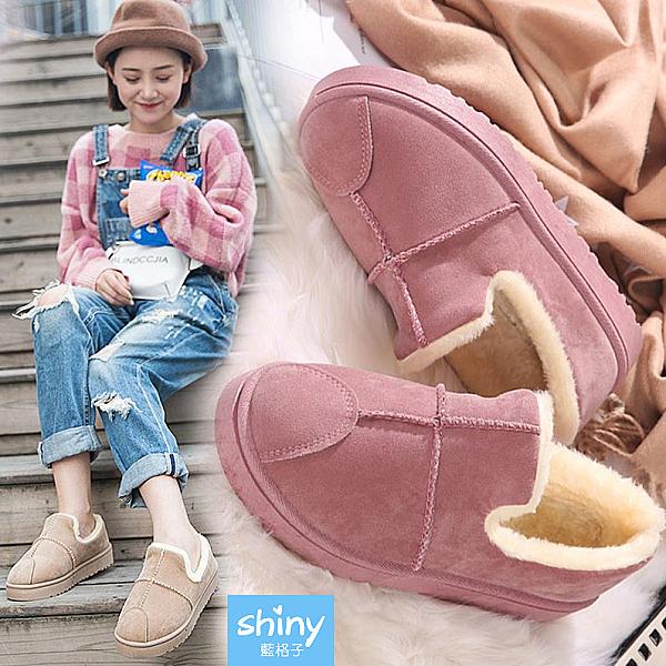 【V8989-1】shiny藍格子-瑕疵特賣.冬季保暖加絨短靴平底麵包鞋