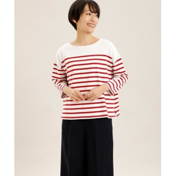 I.T.'S. international/イッツインターナショナル パネルボーダーバスクTシャツ レッド 03