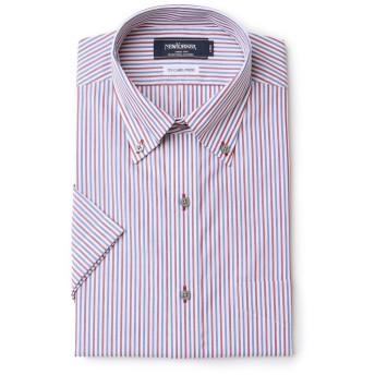 NEWYORKER 【NY CARE FREE】オルタネイトストライプ / 半袖ボタンダウンシャツ ドレスシャツ,レッド(10)