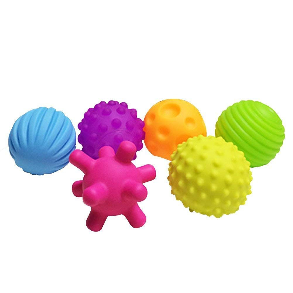 Baby Learning Grasping Soft Ball Kids Gift ROHSCE Baby Textured Multi Ball Set 6pcs Colorful Child Touch Hand Ball Toy Infant Sensory Balls Massage Soft Ball