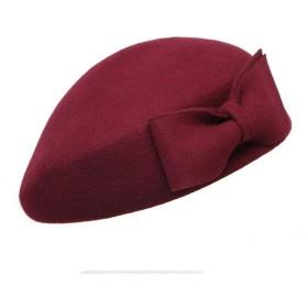 スタイリッシュなカジュアルな女性ベレー帽 レトロウールフェルトクリンピングリボンボウウィンターフロッピー帽子ベレーズ女性用 (色 : Jujube red, サイズ : S)