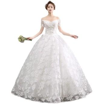 ウェディングドレス 女性オフショルダー半袖フローラルレースビーズのブライダルウェディングドレス床の長さの花嫁ボールガウンドレス ブライダルドレスウェディングドレス (色 : White, Size : M)