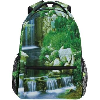 GUKISALA リュックサック、岩の葉カスケードフォレストバレーイメージを流れる滝、バックパック 男女兼用 アウトドア旅行バッグ オシャレ 可愛い 通勤 通学用 軽量 高校生